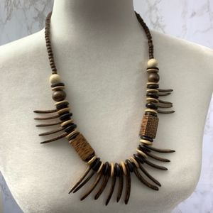 Vintage Tribal necklace beaded wooden wood spikes